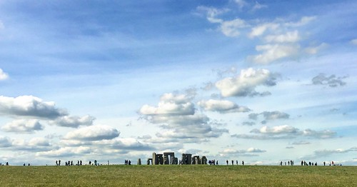 Stonehenge and speech-bubble clouds