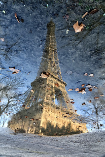 The flooded Eiffel Tower