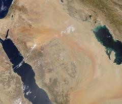 Arc of Sand on the Arabian Peninsula (sjrankin) Tags: 28may2017 edited nasa modis 250m arabianpeninsula asia sand sanddunes iran egypt saudiarabia qatar unitedarabemirates jordan palestine mediterraneansea redsea persiangulf iraq kuwait syria