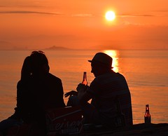 Drinking in the Sun (Edinburgh Photography) Tags: people drinking outdoors sunset silhouette documentary photojournalism newhaven harbour nikon d7000