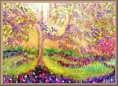 Late Afternoon - Artwork by Dan Seitzinger - 5-28-17 - Signed - Framed (d.m.s. studios) Tags: fantasy floral landscape mixed media pencil sketching by artist dan seitzinger