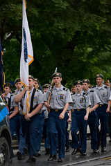 Marching (totjason) Tags: parade march rifle flag beret rain memorial memorialday dehaze nikon d750