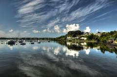 Where Two Rivers Meet (suerowlands2013) Tags: rivertamar saltash hamoaze cornwall boatmoorings clouds reflections morning river riverlynher