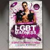 LGBT Pride Madness - Premium Flyer PSD Template (psdmarket) Tags: bisexual colorfullights gayfestival gayflyer gayparade gayparty gaypride homosexual hotmen lesbian lgbt lgbtmovement privateparty
