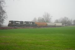 Emerging (alexjay01) Tags: ns norfolk southern emd gp382 5162 5609 high hood p23 mooresville barber nc north carolina local switching industrial farm fog cloudy rain
