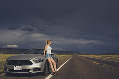 Girl and a Mustang on 66 (Leo Machiavelli) Tags: mustang convertible route 66 america usa the mother road storm breakdown car silver roadtrip legs denim shorts cutoffs blonde arizona highway