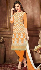 Mustard Color Shaded Cotton Churidar Dress