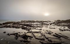 Rock Pools (buddythunder) Tags: travel usa california ca cambria moonstonebeach fog misty mist sun weak pools rocks reflection shallow wideangle