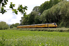 43013 + 43062 - Onibury (Andrew Edkins) Tags: 43013 43062 nmt hst onibury class43 welshmarches shropshire england uk trees geotagged canon railwayphotography field banana may 2017 summer sun testtrain johnarmitt afternoon branch
