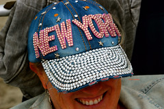 If New York City Was A Hat... (Art By Pem Photography: Tao Of The Wandering Eye) Tags: fineartphotography canon canoneosrebelsl1 eos sl1 hat cap woman newyork newyorkcity sequins rhinestones tourist usa color colour colors colours souvenir whimsical