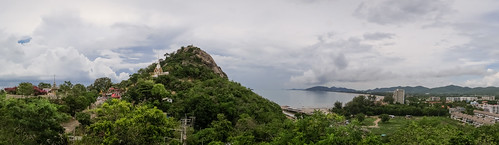 Coastline and  Wat Khao Takap, Hua Hin, Prachuap Khiri Khan, Panoramic