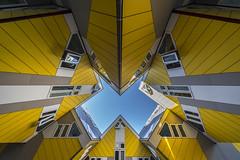 kaleidoscope (II) (Blende1.8) Tags: cube cubes cubebuildings rotterdam architecture architektur urban symmetry symmetrie yellow gelb bluesky blue blau wide wideangle
