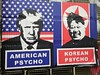 American Psycho Korean Psycho, Charing Cross Road, London, UK (gruntzooki) Tags: london uk walkawaytour booktour signs streetart sign trump northkorea