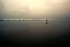 His reflection for company (irishman67) Tags: beach ireland lahinch sand ocean moody man walking alone lone