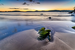 Daybreak Seascape (Merrillie) Tags: daybreak uminabeach sand sunrise nature australia mountains nswcentralcoast emeraldcove newsouthwales sea nsw uminapoint beach scenery centralcoastnsw longexposure clouds water waterscape earlymornings centralcoast landscape seascape moss green rock