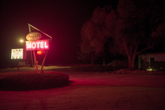 (patrickjoust) Tags: walker westwalkermotel sign neon night california fujicagw690 kodakportra160 6x9 medium format 120 rangefinder 90mm f35 fujinon lens c41 color negative film cable release tripod long exposure after dark manual focus analog mechanical patrick joust patrickjoust northern ca usa us united states north america estados unidos high desert sierra nevada mountains west motel