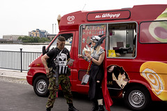 Ice cream break (jamiethompson01) Tags: comic con 2017 london excel dlr movies marvel video games pop culture batman spiderman star wars mcm multigenre fan convention bank holiday street candid martin parr british uk england people event day ice cream summer documentary