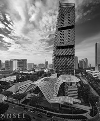 RENDER (draken413o) Tags: singapore architecture cityscapes skyline skyscrapers urban places scenes asia travel destinations south beach tower black white monochrome details glass vertorama dji drone aerial phantom 4 pro waves hotel