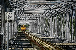 Yellow & grey: train on a bridge (2008)