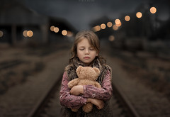 Silence (sveta_butko) Tags: portrait girl beauty nature railway child evening dark kid little closed eyes childhood bear hug teddy front natural light one person