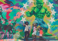 Yoga Hulk vs. cute Kids (Cloud 77) Tags: artgallery canon70d florida2017 miami wynwood yogahulk wall