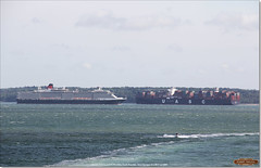 South Bramble viewed from Calshot Spit, with Queen Victoria inbound to Southampton, and Al Murabba outbound, June 3rd 2017 (Bristol RE) Tags: isleofwight southbramble queenvictoria cunard almurabba uasc solent imo 9708837 9320556