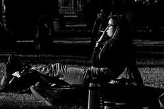 cigarette (Wal Wsg) Tags: cigarette cigarrillo woman mujer girl chica lady femme byn bw canoneosrebelt3 phwalwsg argentina buenosaires caba parquecentenario canon canont6i
