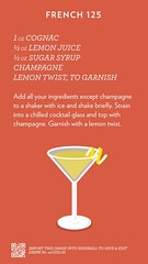 French 125, check out more cocktails at http://ift.tt/2dslAbC (cocktailflashcards) Tags: highball cocktail french 125 cognac lemon juice sugar syrup champagne twist