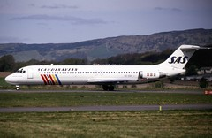 SE-DAR. SAS Douglas DC-9-41 (Ayronautica) Tags: sedar douglasdc941 sas scandinavianairlinessystem glasgow gla egpf aviation ayronautica 1989 scanned