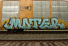 MOTER (TheGraffitiHunters) Tags: graffiti graff spray paint street art colorful freight train tracks benching benched racks autoracks moter ribbet