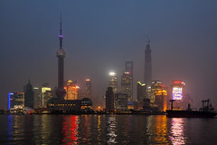 Dusk (Joost10000) Tags: shanghai blue hour bluehour evening night darkness river skyline skyscraper water tower city china outdoors view scenic beauty neon lights huangpu huangpuriver dusk boat ship canon eos canon5d bund reflection blauestunde