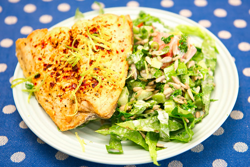 Panfried salmon with salad