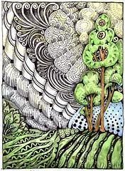 Watermelon Meadows-Bleedthrumanade back (molossus, who says Life Imitates Doodles) Tags: review emnotesnotebook zentangleinspired art zentangle