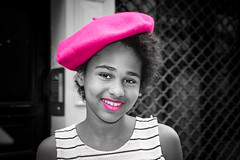Young, fashionable, colour-mached lady in Paris. (Phototravelography) Tags: france paris beret girl hat lady pink woman young noa