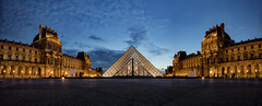 Cour Napoléon et Pyramid du Louvre (gimmeocean) Tags: cournapoléonetpyramiddulouvre pyramidedulouvre louvrepyramid louvre pyramid courtyard glasspyramid impei napoleoncourt pyramidofthelouvre paris france bluehour panorama pano lowangle le longexposure