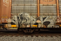 DORK (TheGraffitiHunters) Tags: graffiti graff spray paint street art colorful freight train tracks benching benched racks autoracks dork face