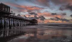 Here Comes the Sun...na na na na na na (Carol Huffman) Tags: sunset pier cocoabeachpier cocoabeach fl florida outdoors water oceancoast surf