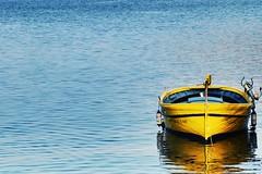 Yellow (caioantunes302) Tags: quietness sea catalunha yellow blue boat cadaqués spain