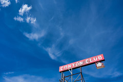 Canyon Club (BrianEden) Tags: neon arrow americana xpro2 club fujifilm graphicdesign type design canyon minimal sky typography sign vintage williams lettering arizona america canyonclub fuji az unitedstates us