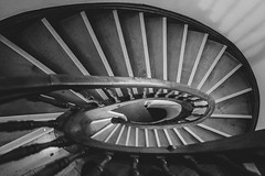 Downwards (mripp) Tags: art kunst vintage old retro black white mono monochrome architecture interior stairs down leica q