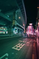 Sangenjaya - Tokyo, Japan (inefekt69) Tags: japan tokyo night street neon asia city nikon d5500 日本 東京 sangenjaya 三軒茶屋 freeway overpass expressway