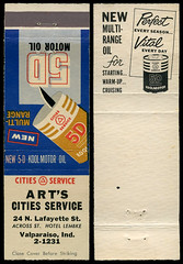 Art's Cities Service in Valparaiso, Indiana - Matchcover (Shook Photos) Tags: match matches matchbook matchbooks matchcover matchcovers smoke smoking advertise advertisement promotion promotional valparaisoindiana valparaiso artscitiesservice citiesservice motoroil oil engineoil 5dmotoroil lubricant lubricants