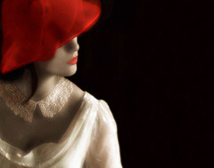 Ivory and Red (coollessons2004) Tags: red hat ivory woman beautiful vintage mystery mysterious