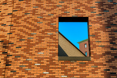 modern architecture (Guy Goetzinger) Tags: deventer brick wall netherland window orange brown house facade street bottomsup bric nikon d800 trend best immo holland europa