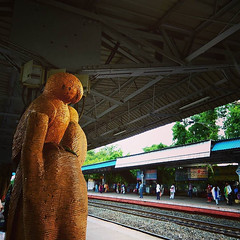 The wooden owls carved out od tree which was once alive. . . #kolkatalove #photgraphyday #train... (samarjitsinha) Tags: ifttt 500px city people street travel train architecture tree temple building railway adult man statue evening india art sculpture blur tube owl woodart transportation system
