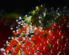 Strawberries In Lemonade (1selecta) Tags: stawberries lemonade drink soda pop liquid wet food fruit edible bubble bubbles seed seeds red green white black round circle air airbubble airbubbles yellow viivid