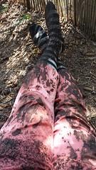 Gardening FAIL :( waaah.... (theoldsongs) Tags: kneesocks mud garden pink capris mudfight antirule rebel girl dirty contrast tidepower oops art abstract white black stripes trashed fail