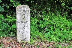 The Two and a Half Mile milestone (stavioni) Tags: farnham odiham a287 milestone mile stone marker benchmark bench mark