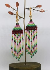 Tourmaline Seed Beads earrings (BeeJang - Piratchada) Tags: beadweaving beadwork beaded beading earring earrings tourmaline miyuki matsuno delica red green pink yellow swarovski topaz jewelry handmade