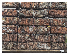 Crushed (Dave Fieldhouse Photography) Tags: birmingham streetphotography streetart street art crushed cars scrap recycling wall screen digbeth carpark rust rubbish junk pavement fujifilm fuji fujinon35mmf2 fujixpro2 wwwdavefieldhousephotographycom project wheels